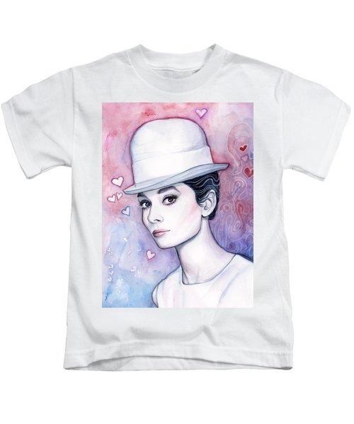 Audrey Hepburn Fashion Watercolor Kids T-Shirt by Olga Shvartsur