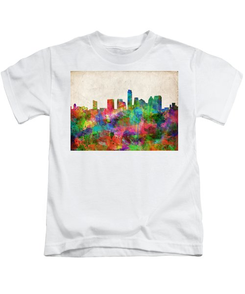 Austin Texas Abstract Panorama 4 Kids T-Shirt