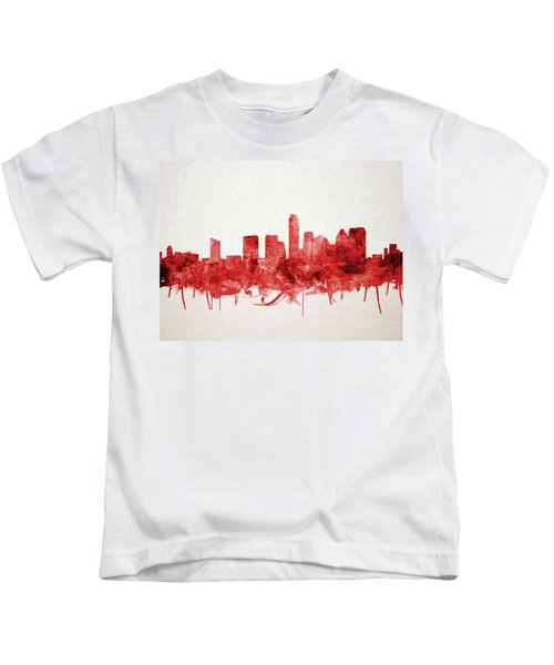 Austin Texas Skyline Watercolor 4 Kids T-Shirt