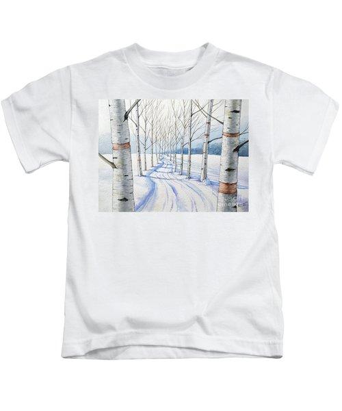 Birch Trees Along The Curvy Road Kids T-Shirt