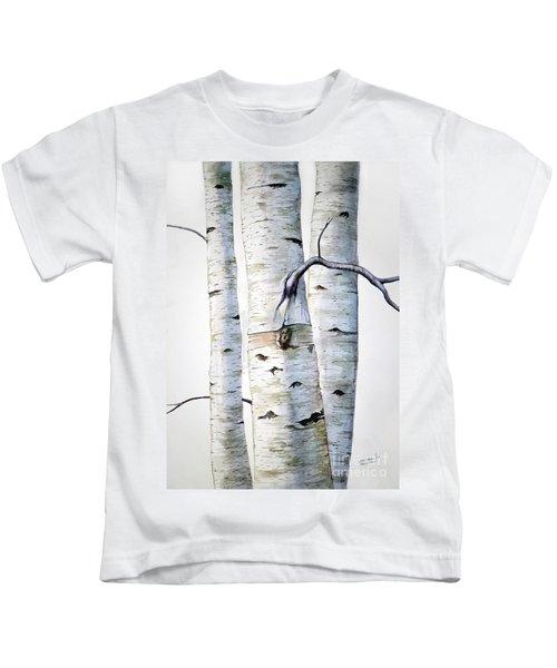 Birch Trees In Watercolor Kids T-Shirt