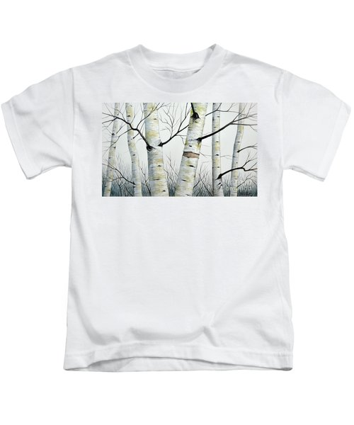 Birch Trees In The Forest In Watercolor Kids T-Shirt