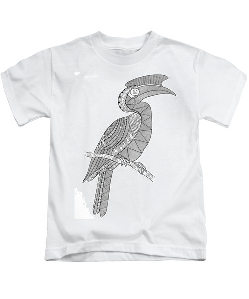 Bird Hornbill Kids T-Shirt by Neeti Goswami