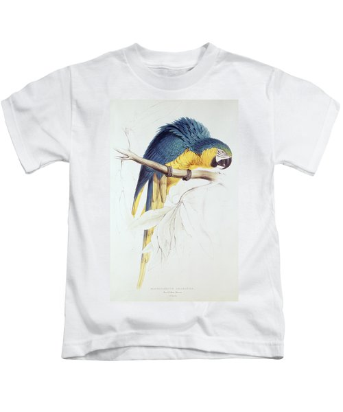 Blue And Yellow Macaw Kids T-Shirt