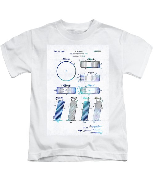 Blue Hockey Art - Hockey Puck Patent - Sharon Cummings Kids T-Shirt
