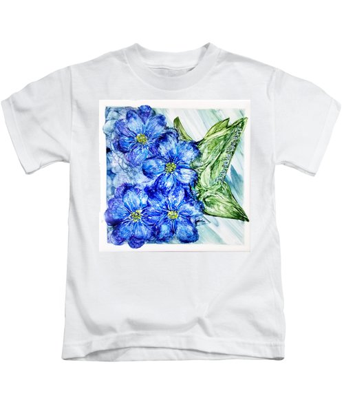 Blue Springy Flowers Alcohol Inks Kids T-Shirt
