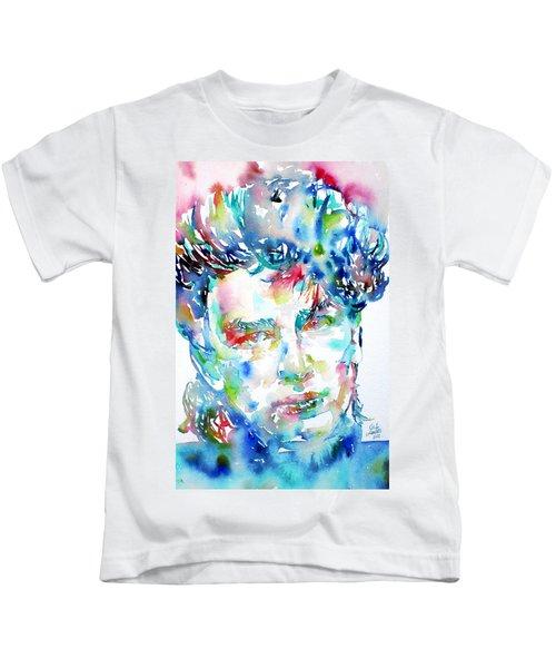 Bono Watercolor Portrait.1 Kids T-Shirt by Fabrizio Cassetta