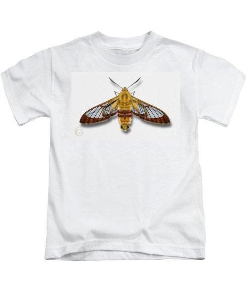 Broad-bordered Bee Hawk Moth Butterfly - Hemaris Fuciformis Naturalistic Painting -nettersheim Eifel Kids T-Shirt