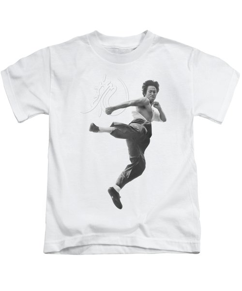 Bruce Lee - Flying Kick Kids T-Shirt by Brand A