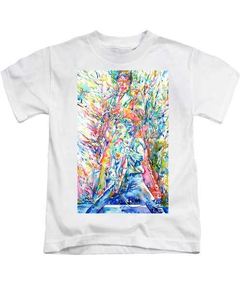 Bruce Springsteen And Clarence Clemons Watercolor Portrait Kids T-Shirt by Fabrizio Cassetta