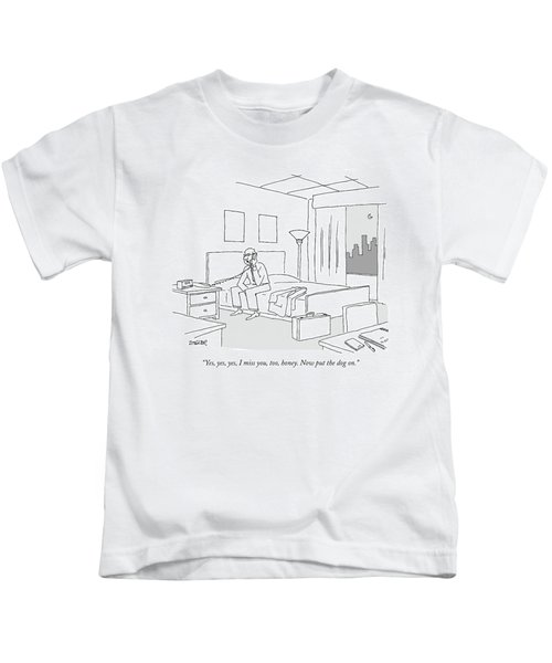 Businessman Sitting On A Bed In Hotel Room Kids T-Shirt