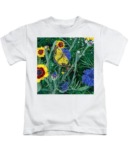 Butterfly And Wildflowers Spring Floral Garden Floral In Green And Yellow - Square Format Image Kids T-Shirt