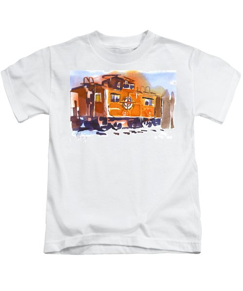 Caboose In Snow And Ice Kids T-Shirt