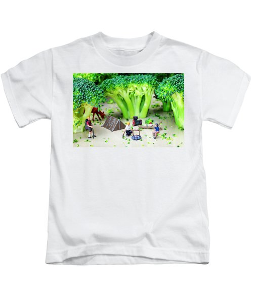 Camping Among Broccoli Jungles Miniature Art Kids T-Shirt