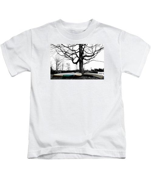 Canoes In Winter Kids T-Shirt