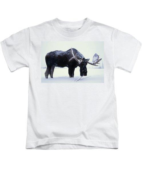Captive Bull Moose Foraging For Food Kids T-Shirt