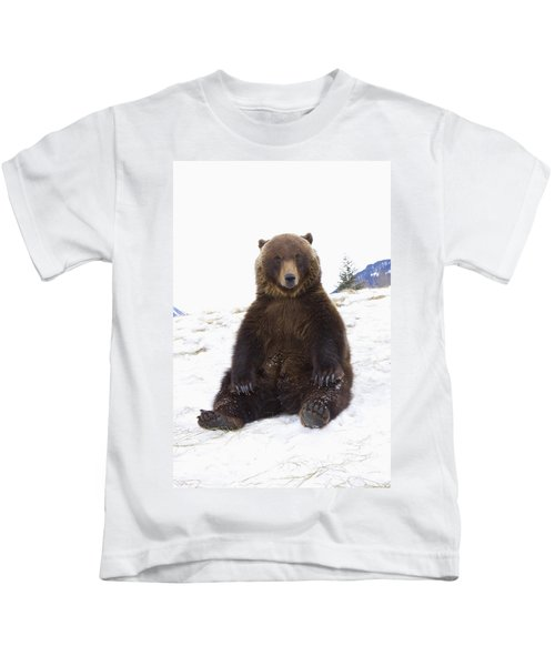 Captive Grizzly During Winter Sits Kids T-Shirt