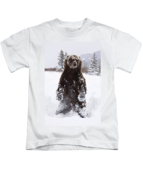 Captive Grizzly Stands On Hind Feet Kids T-Shirt