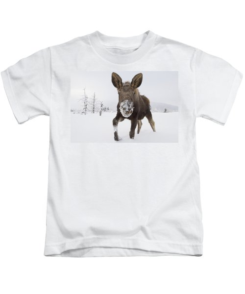 Captive Young Bull Moose In Deep Snow Kids T-Shirt