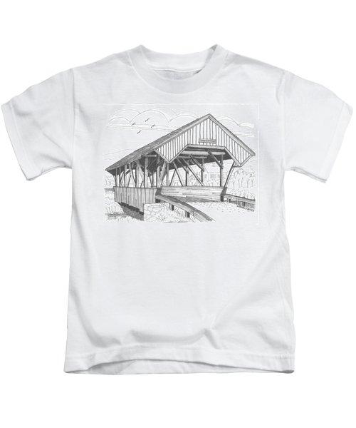 Chamberin Mill Covered Bridge Kids T-Shirt