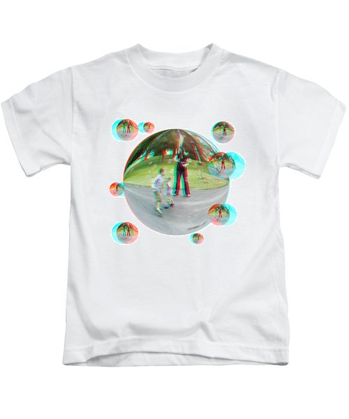 Chasing Bubbles - Red/cyan Filtered 3d Glasses Required Kids T-Shirt