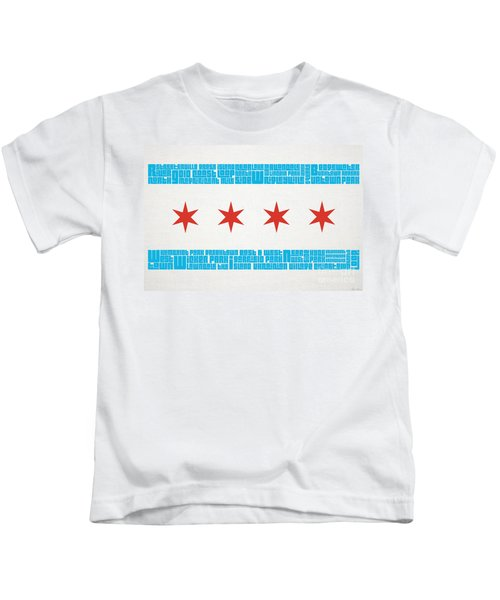 Chicago Flag Neighborhoods Kids T-Shirt by Mike Maher