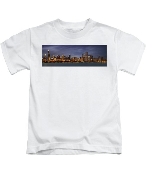 Chicago Skyline At Night Color Panoramic Kids T-Shirt by Adam Romanowicz