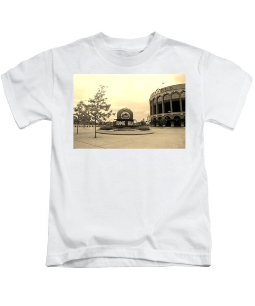 Citi Field In Sepia Kids T-Shirt