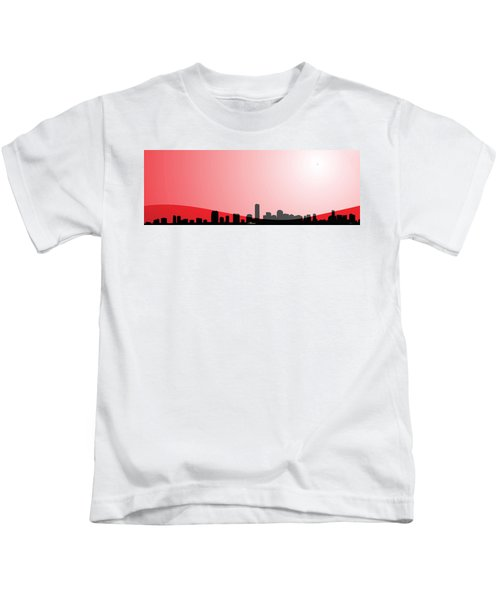 Cityscapes - Miami Skyline In Black On Red Kids T-Shirt by Serge Averbukh