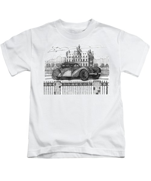 Classic Auto With Chateau Kids T-Shirt