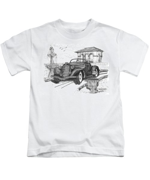 Classic Auto With Formal Gardens Kids T-Shirt