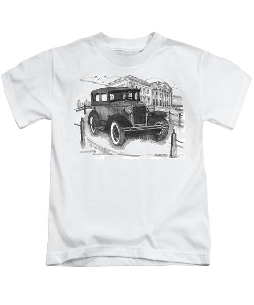 Classic Auto With Mills Mansion Kids T-Shirt