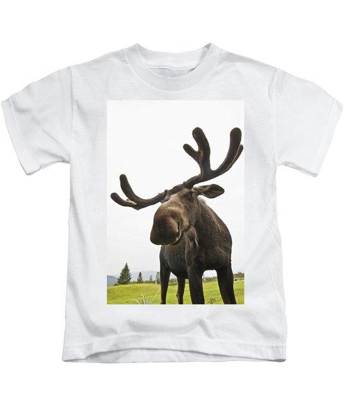 Close Up Of Young Bull Moose Kids T-Shirt