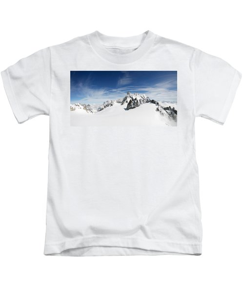 Clouds Over A Snow Covered Mountain Kids T-Shirt