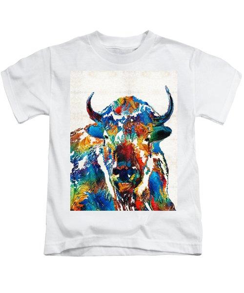 Colorful Buffalo Art - Sacred - By Sharon Cummings Kids T-Shirt