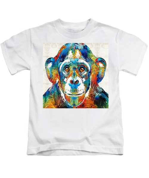 Colorful Chimp Art - Monkey Business - By Sharon Cummings Kids T-Shirt by Sharon Cummings