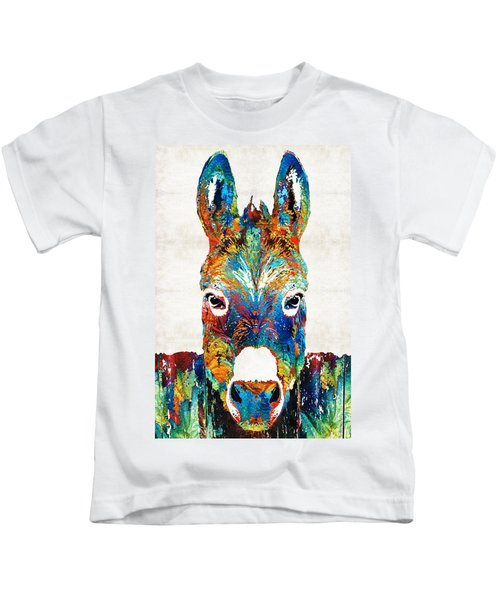 Colorful Donkey Art - Mr. Personality - By Sharon Cummings Kids T-Shirt by Sharon Cummings