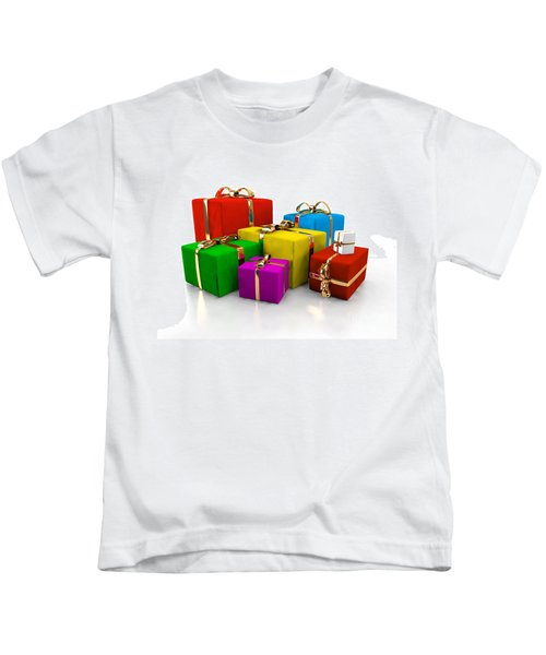 Colorful Gift Boxes Isolated On White. Kids T-Shirt
