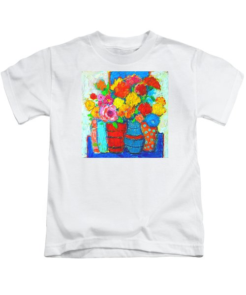 Colorful Vases And Flowers - Abstract Expressionist Painting Kids T-Shirt