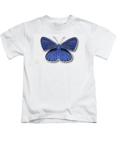 Common Blue Butterfly - Polyommatus Icarus Butterfly Naturalistic Painting - Nettersheim Eifel Kids T-Shirt