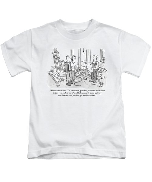Contractor Examining A Blueprint And Speaking Kids T-Shirt