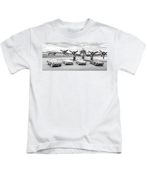 Corvettes And B17 Bomber -0027bw2 Kids T-Shirt