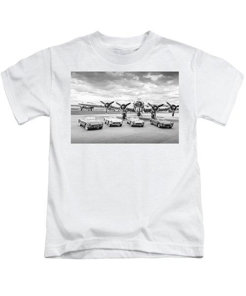 Corvettes And B17 Bomber -0027bw45 Kids T-Shirt