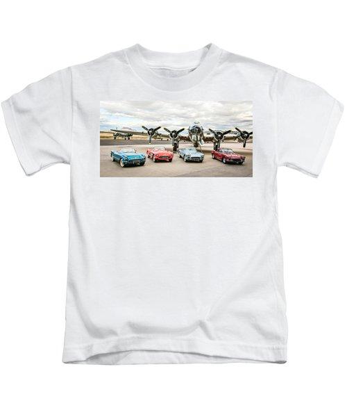 Corvettes And B17 Bomber -0027c23 Kids T-Shirt