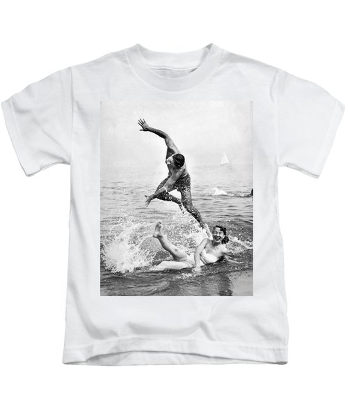 Couple Frolics In The Surf Kids T-Shirt