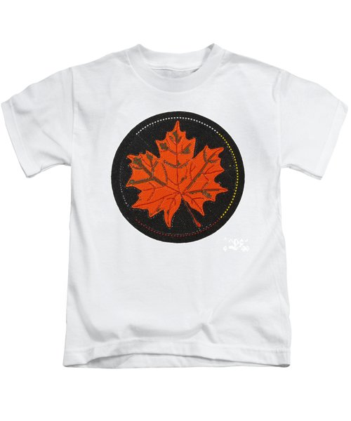 Cradleboard Beadwork Fall Maple Leaf Kids T-Shirt