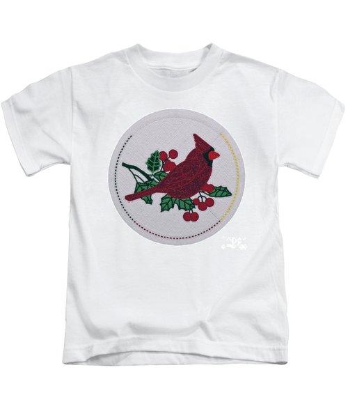 Cradleboard Beadwork Winter Cardinal Kids T-Shirt
