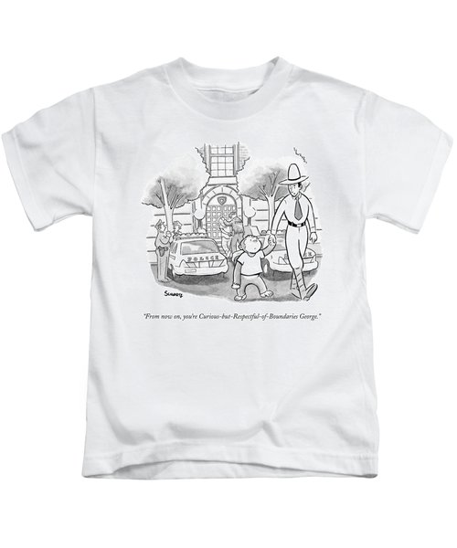 Curious George Is Escorted Out Of A Police Kids T-Shirt