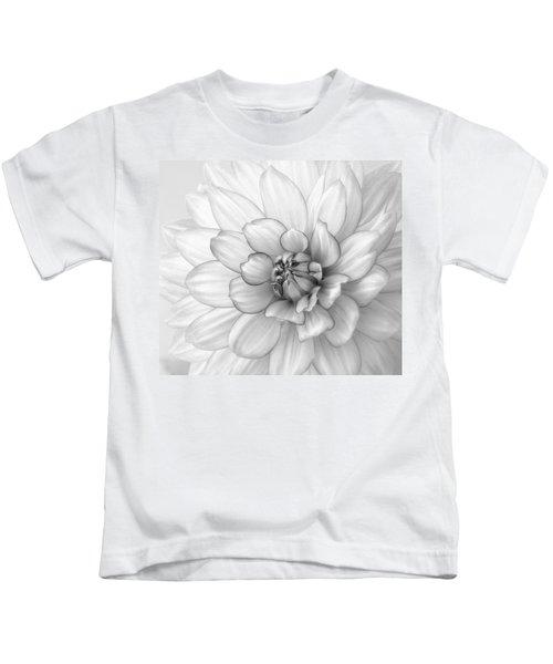 Dahlia Flower Black And White Kids T-Shirt