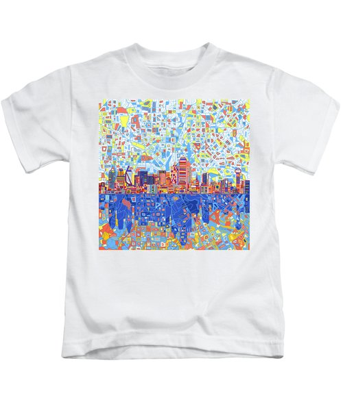 Dallas Skyline Abstract 5 Kids T-Shirt